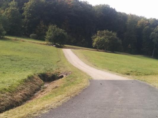 Kurz nach Oberleinleiter, endet der asphaltierte Radweg !